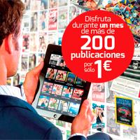 Paga 1€ y lee 200 periódicos y revistas durante 1 mes
