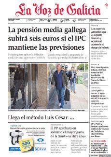LA PENSIÓN MEDIA GALLEGA SUBIRÁ SEIS EUROS SI EL IPC MANTIENE LAS PREVISIONES