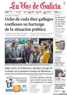 OCHO DE CADA DIEZ GALLEGOS CONFIESAN SU HARTAZGO DE LA SITUACIÓN POLÍTICA