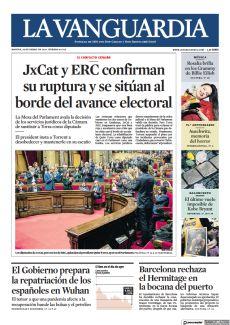 LOS DIPUTADOS DE JXCAT, PERO NO LOS DE ERC, APLAUDEN AL PRESIDENT QUIM TORRA, AYER EN EL PARLAMENT.