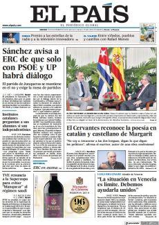 SÁNCHEZ AVISA A ERC DE QUE SOLO CON PSOE Y UP HABRÁ DIÁLOGO