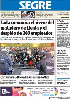 SADA COMUNICA EL CIERRE DEL MATADERO DE LLEIDA Y EL DESPIDO DE 260 EMPLEADOS